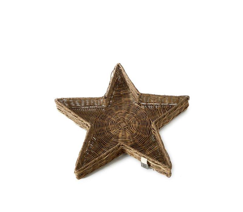 Rustic Rattan Star Tray L