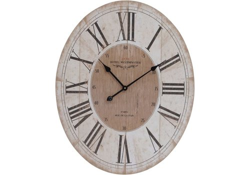 Homestore Parisienne Wooden Wall Clock With Roman Numerals Quartz Movement