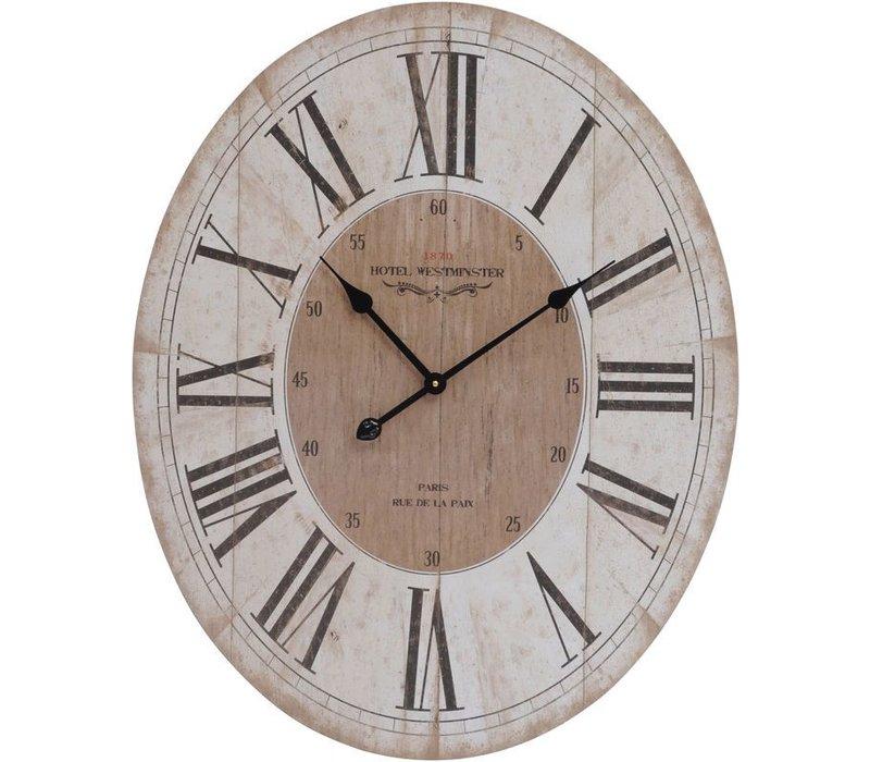 Parisienne Wooden Wall Clock With Roman Numerals Quartz Movement