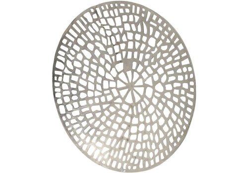 Homestore Silver Coral Design Round Wall Plaque Textured Aluminium
