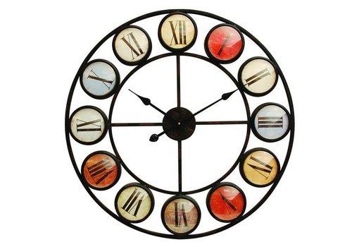 Homestore Smarty Iron Clock Roman Numerals Coloured Domed Glass