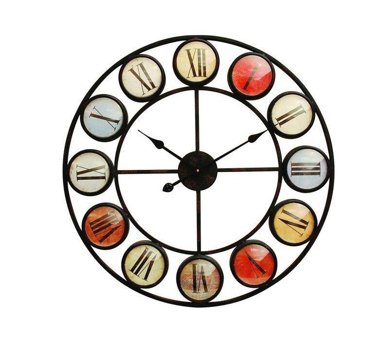 Smarty Iron Clock Roman Numerals Coloured Domed Glass