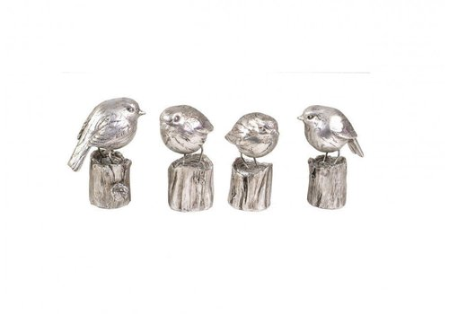 Homestore Silver Finish Set Of 4 Sparrows