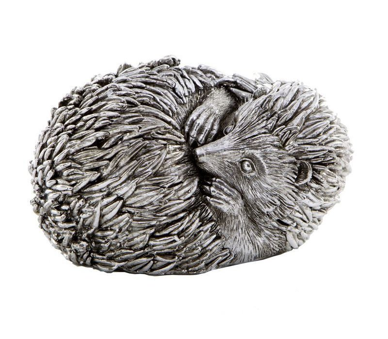 Curled Hedgehog Sculpture Antique Silver Finish