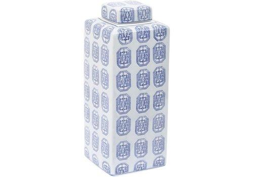 Homestore Brighton Blue Square Ceramic Jar Large