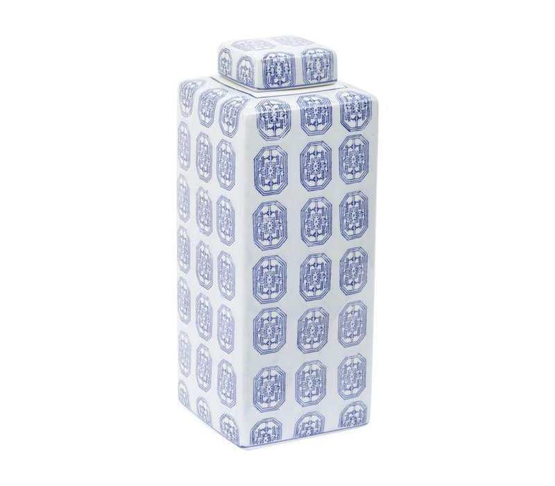 Brighton Blue Square Ceramic Jar Large