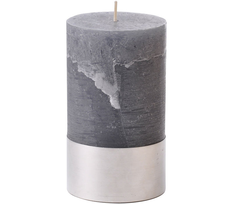 Libra Dark Grey Rustica Pillar Candle 7x12cm