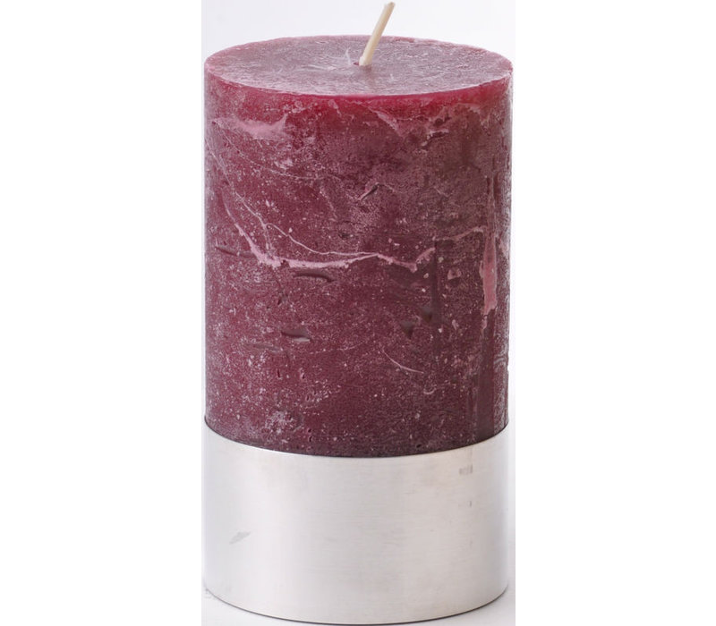 Libra Bordeaux Rustica Pillar Candle 7x12cm