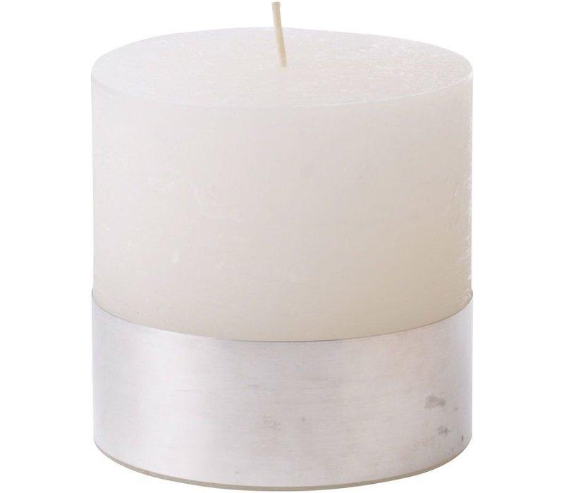 Libra White Rustica Pillar Candle 10x10cm