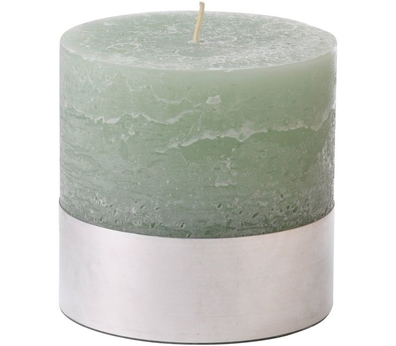 Libra Light Green Rustica Pillar Candle 10x10cm