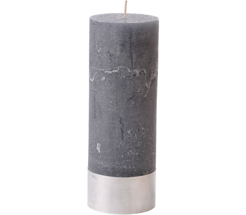 Libra Dark Grey Rustica Pillar Candle 7x19cm