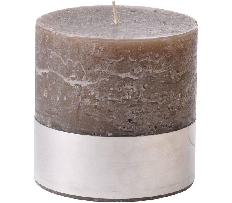 Libra Beige Rustica Pillar Candle 10x10cm