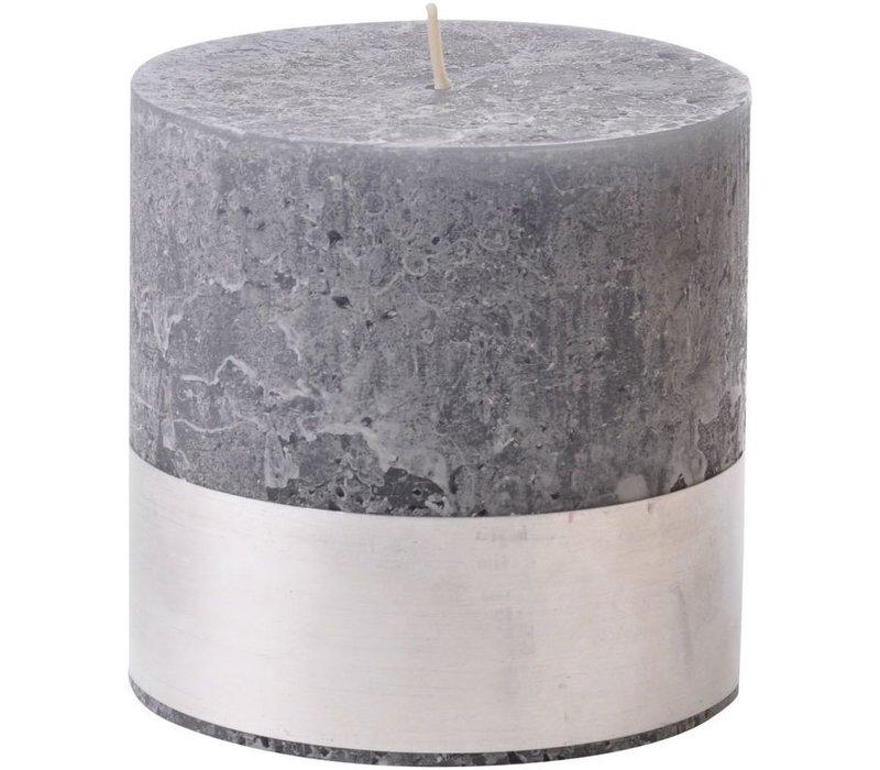 Libra Dark Grey Rustica Pillar Candle 10x10cm