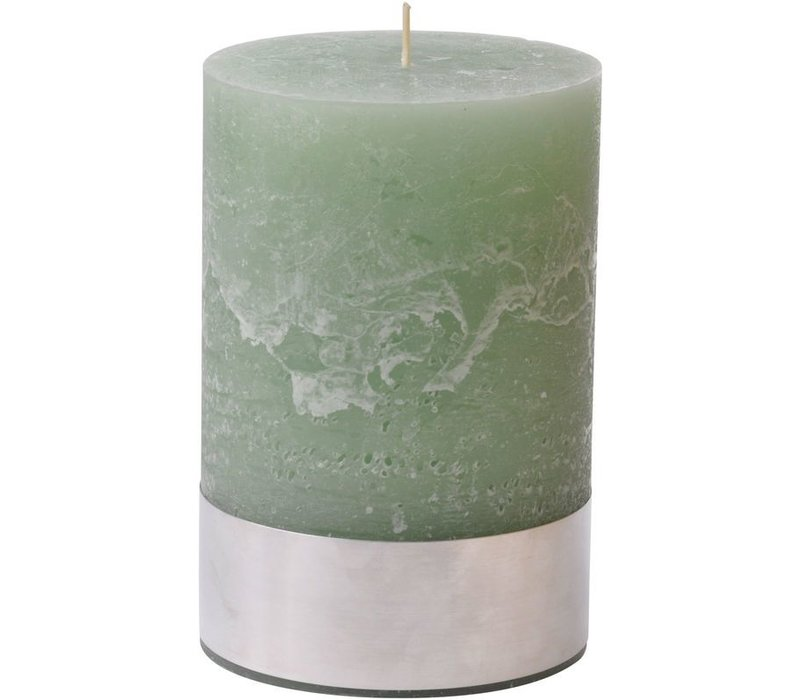 Libra Light Green Rustica Pillar Candle 10x15cm