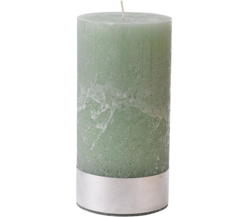 Libra Light Green Rustica Pillar Candle 10x20cm