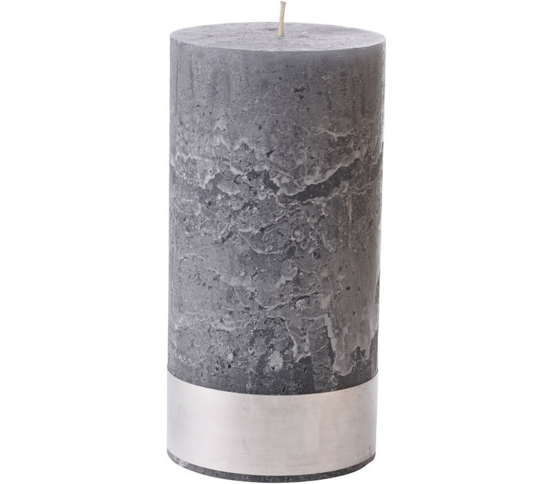 Libra Dark Grey Rustica Pillar Candle 10x20cm