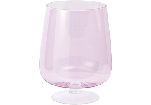 Homestore Libra Hand Blown Pink Lustre Glass Hurricane