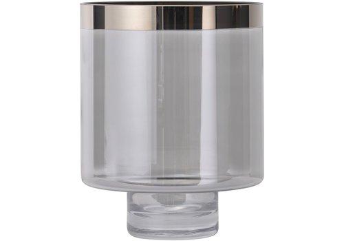 Homestore Libra Hand Blown Small Black Lustre Silver Rim Glass Hurricane