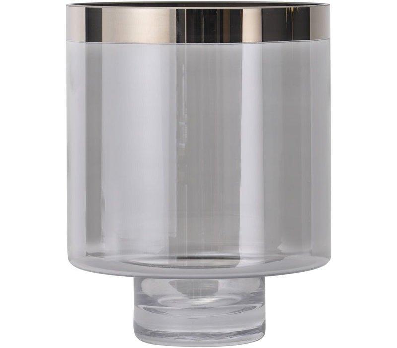 Libra Hand Blown Small Black Lustre Silver Rim Glass Hurricane