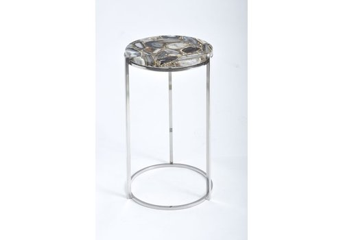 Homestore Agate Round Side Table on Nickel Frame