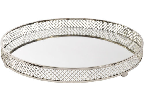 Homestore Round Rushford Nickel Plated Mirror Tray