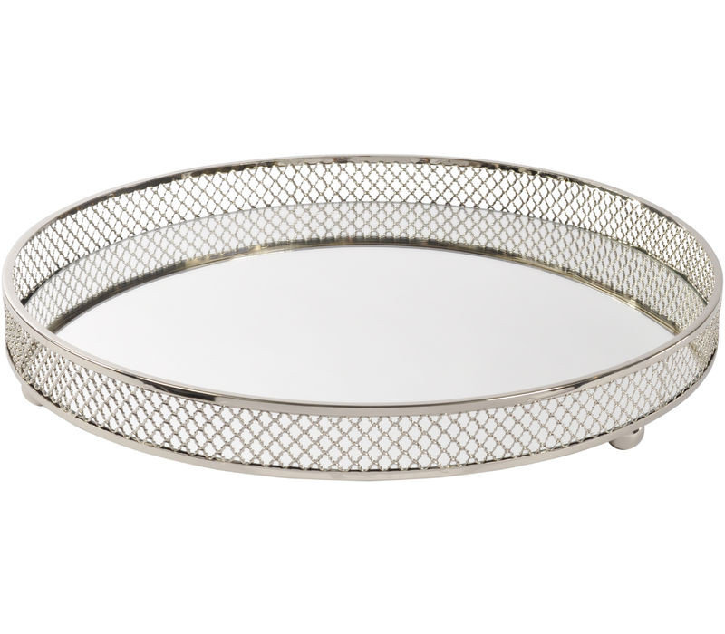 Round Rushford Nickel Plated Mirror Tray