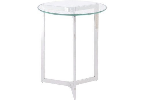 Homestore Linton Stainless Steel And Glass End Table