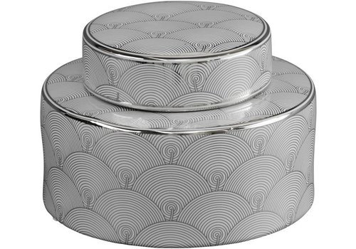 Homestore Small Silver And White Fan Deco Ceramic Jar