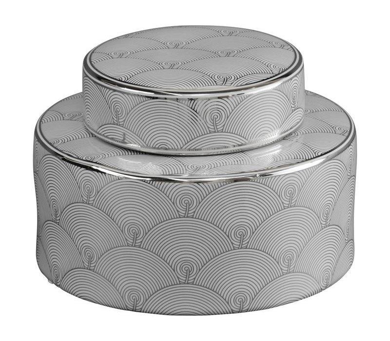 Small Silver And White Fan Deco Ceramic Jar