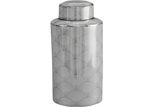 Homestore Large Silver And White Fan Deco Ceramic Jar
