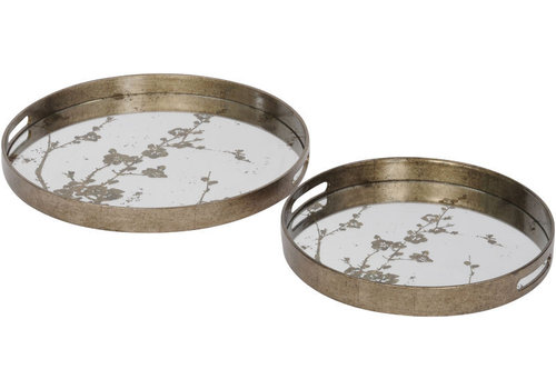 Homestore Vienna Antique Gold Set Of 2 Blossom Trays