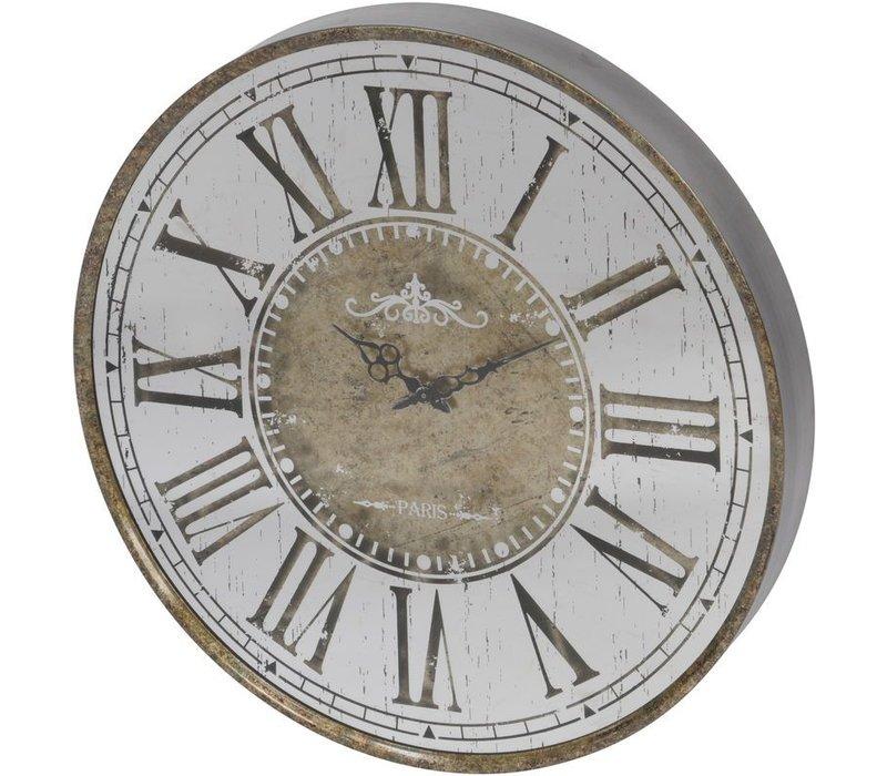 Vienna Antique Gold Round Mirrored Wall Clock