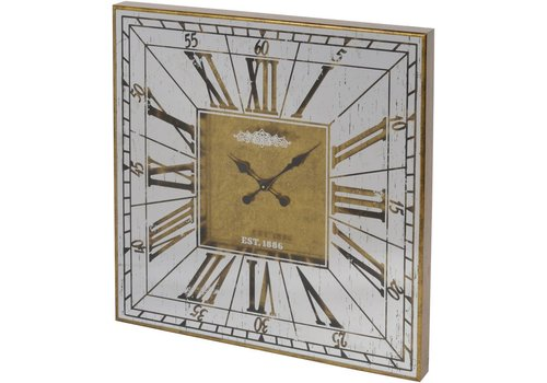 Homestore Vienna Antique Gold Large Square Mirrored Wall Clock
