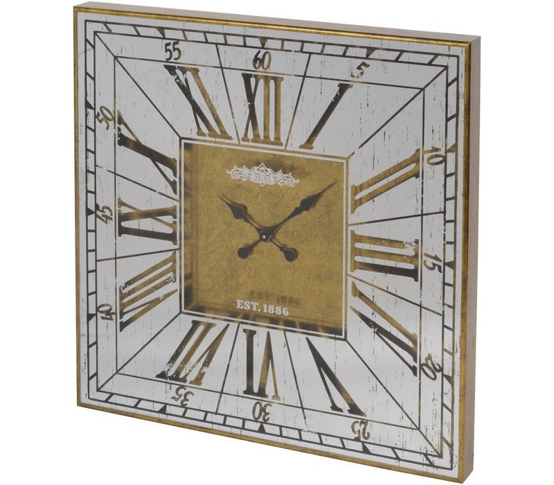 Vienna Antique Gold Large Square Mirrored Wall Clock