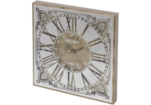 Homestore Vienna Antique Gold Small Square Mirrored Wall Clock