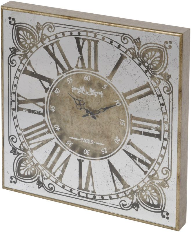 Vienna antique gold small square mirrored wall clock