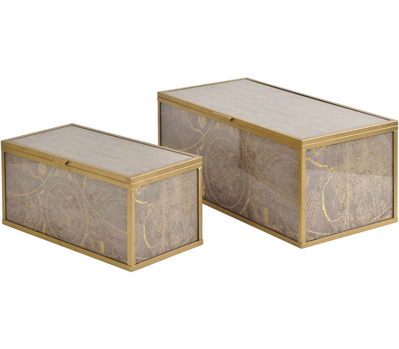 Vienna Antique Gold Atlas Set Of 2 Boxes