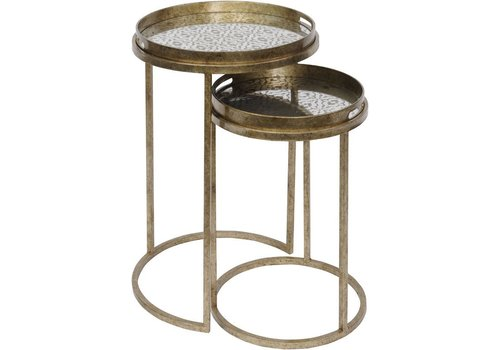 Homestore Vienna Antique Gold Diamond Set Of 2 Side Tables