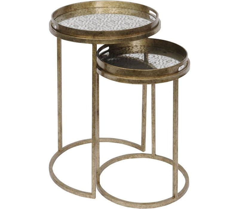 Vienna Antique Gold Diamond Set Of 2 Side Tables