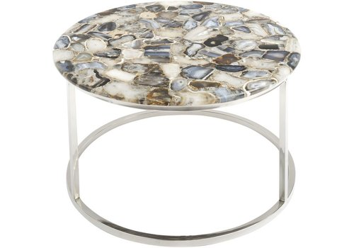 Homestore Agate Round Coffee Table On Nickel Frame
