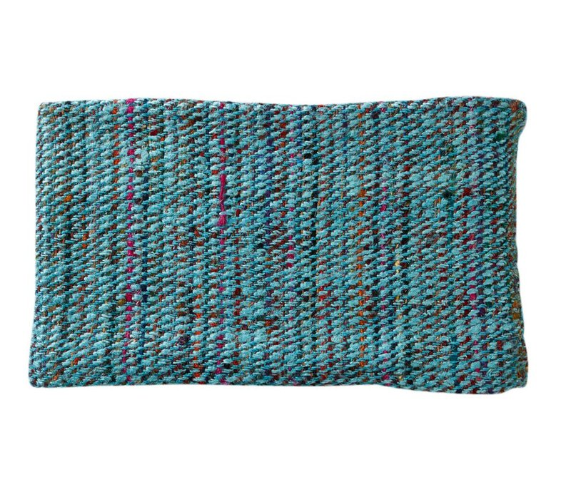 Tweed Throw in Turquoise with Muticolours