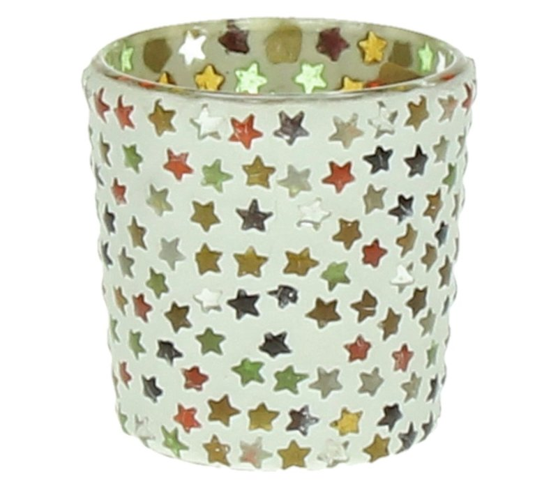 Stars T-Light Holder with Stars in mosaic glass - small