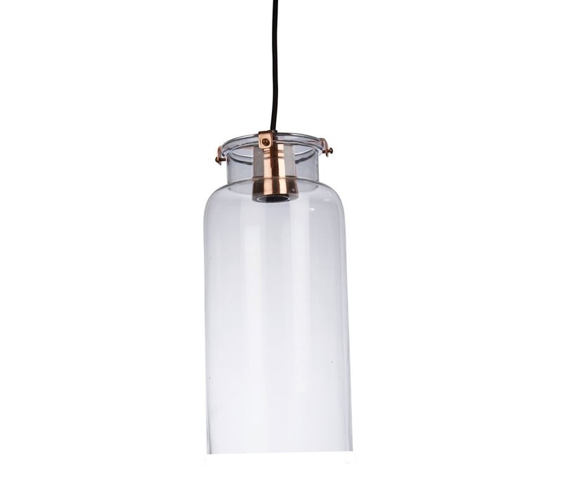 Ice Hanging Lamp in Glass with Metal Rim