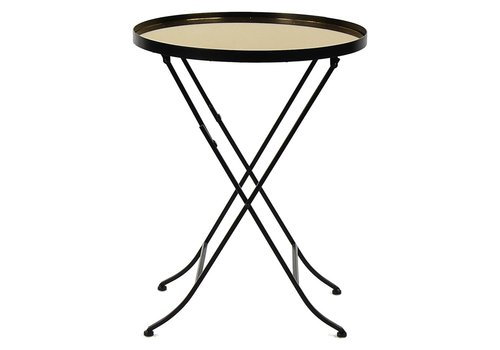 Homestore Palace Side Table - Mirror, metal & Gold