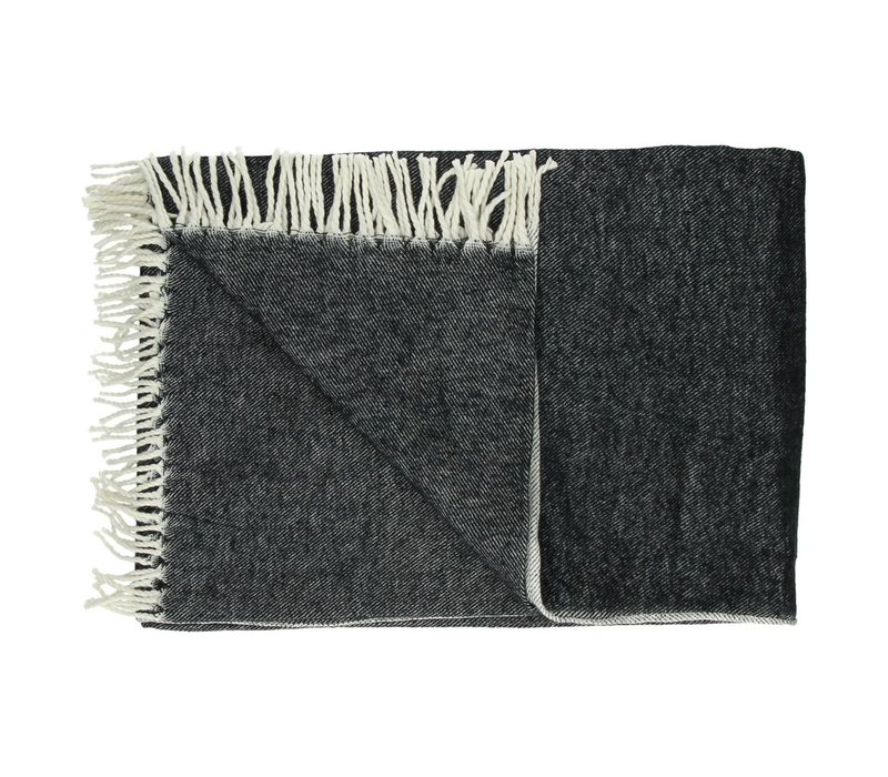 Cocooning Throw with Fringes 170x130cm (Balck)