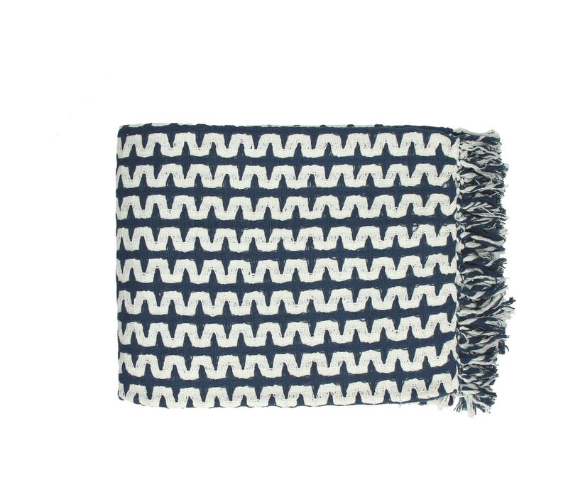 Jungle Throw 130x170cm Navy & White
