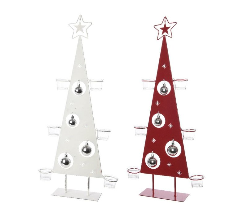 Tea-Light holder in tree shape with Baubles in Red or White