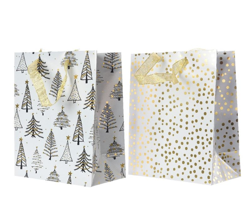 Gift Bag with Tree or Dot in White & Gold