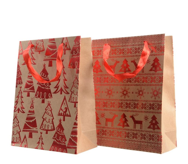 Gift Bag with trees or snowflake & deer design