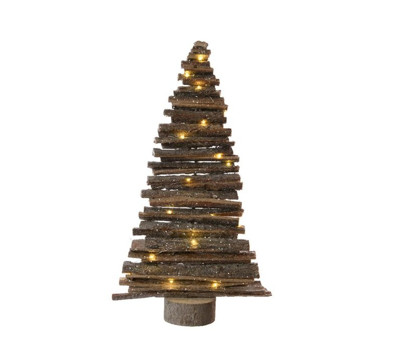 Wooden Tree with Bark & LED Lights - Medium